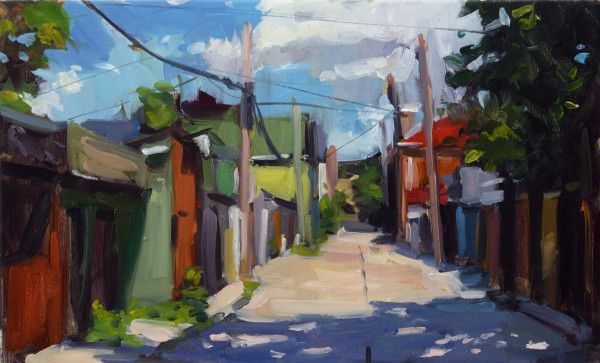 """Croft Street"" 2016 oil painting on panel by Toronto artist, Brian Harvey. For purchase and related details click the image or visit Foxsly at foxsly.com!"