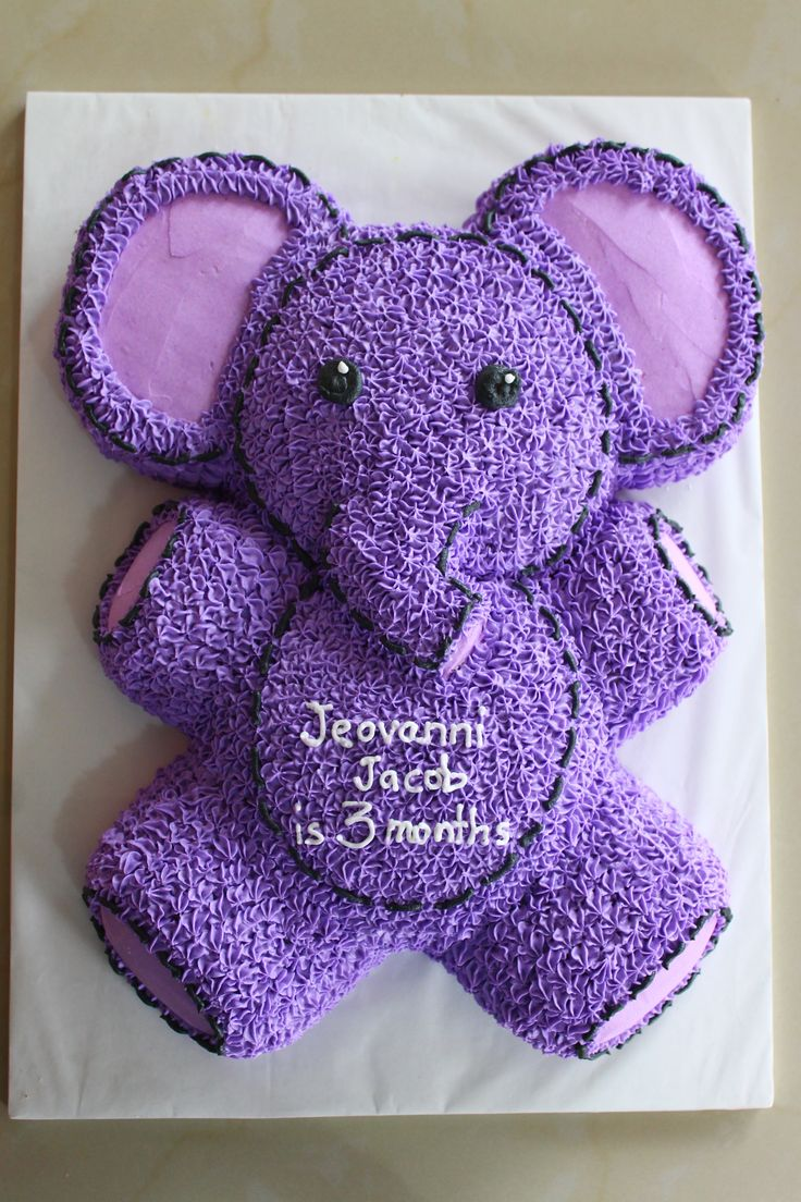 Cute Little Purple Elephant In Buttercream Icing Animal