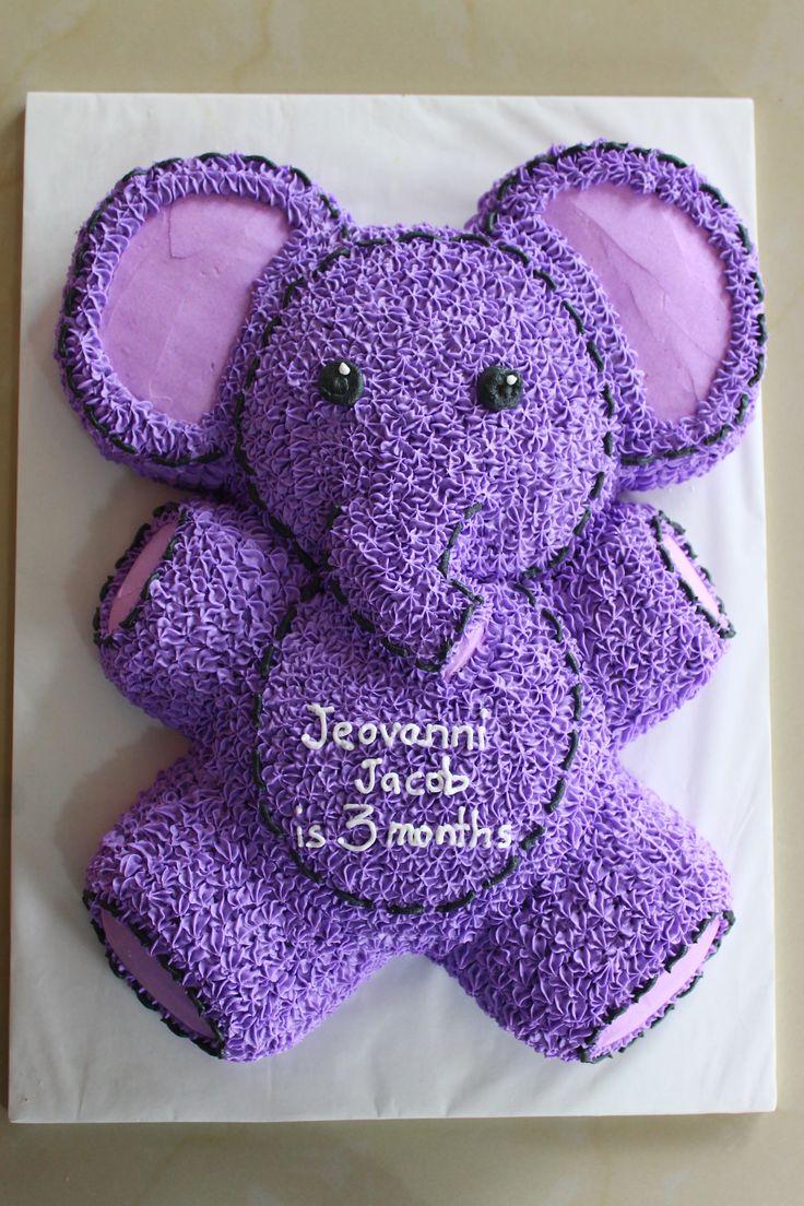 cute little purple elephant in buttercream icing
