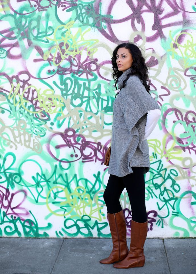 """Cable Poncho - Long Tall Sally (on sale for $55)/Long Sleeved Crew Neck Tee  - Height Goddess/Leggings - c/o Method Boutique (38"""" inseam)/Boutique 9  'Zanny' boot (up to size 14. I am wearing a size 12) - Barefoot Tess /Clutch - Thrifted/Ring - Forever21  Photo credit: Kate Bowyer (YBowye"""