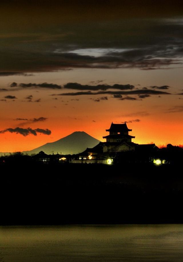 Mt. Fuji and Sekiyadojo Castle, Chiba, Japan
