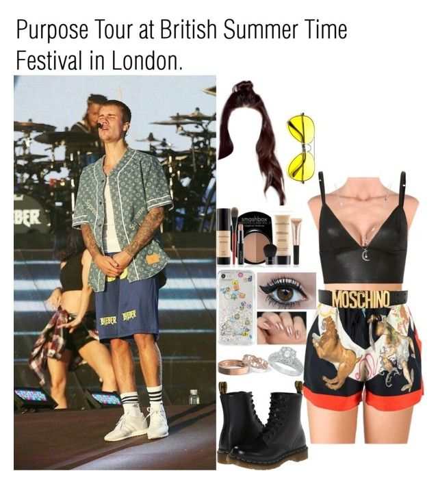 """Purpose Tour at British Summer Time Festival in London."" by tatabranquinha ❤ liked on Polyvore featuring Forever 21, T By Alexander Wang, Versace, Dr. Martens, Smashbox, Moschino, Rebecca Minkoff, Charlotte Russe, JustinBieber and festival"