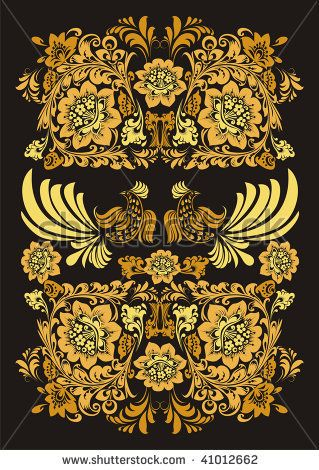 Ornate with golden bird and plants on a black background - stock photo