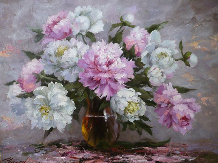 художник Николаев Юрий, Розовые и белые пионы