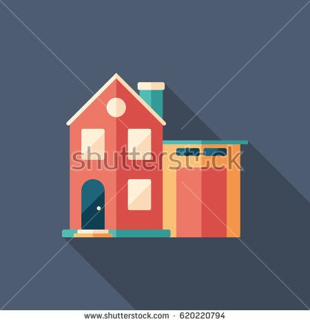 Smart house flat square icon with long shadows. #buildingicon #flaticons #vectoricons #flatdesign