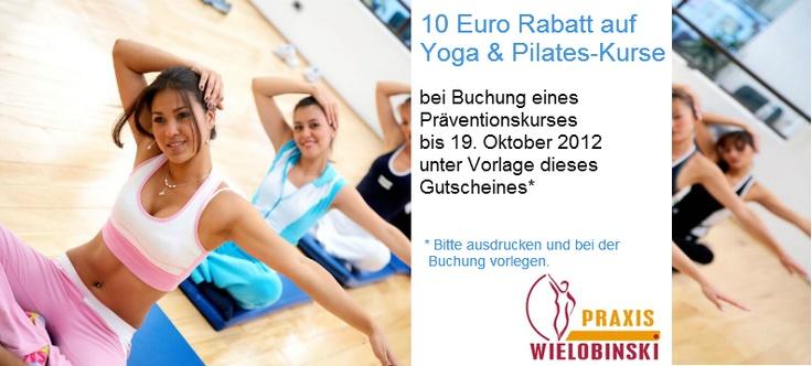 """Die """"Wielobinski-Zeit-für-mich-Aktion"""": Gutschein ausdrucken und bei der Buchung der nächsten Yoga- und Pilateskurse sparen."""