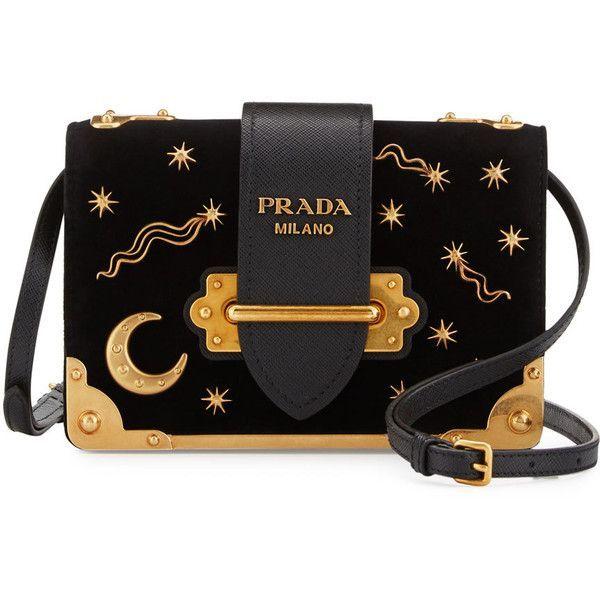 Prada Cahier Astrology Velvet Shoulder Bag ($2,090) ❤ liked on Polyvore featuring bags, handbags, shoulder bags, black, prada shoulder bag, velvet purse, shoulder handbags, embellished handbags and flap handbags