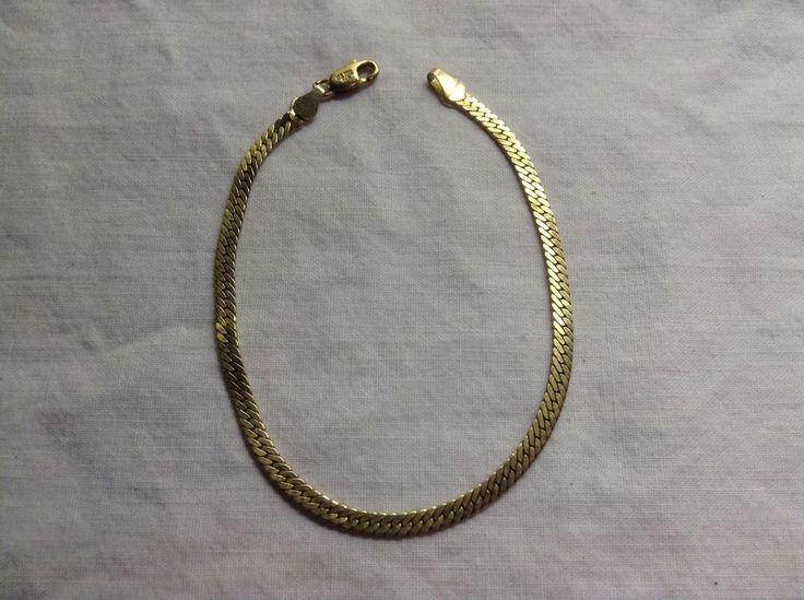 VTG 14K over .925 Silver Thick Chain Bracelet, 7