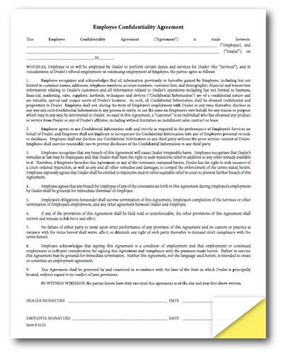Employee Confidentiality Agreement - 100 Per Pack Use this form - sample employee confidentiality agreement