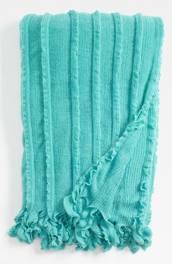 Turquoise Green Throw, ruffled edge