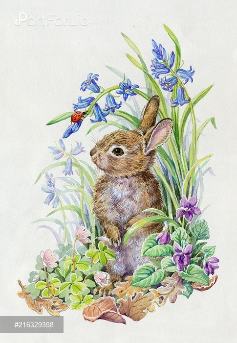 Young rabbit with ladybird, bluebells, violets etc