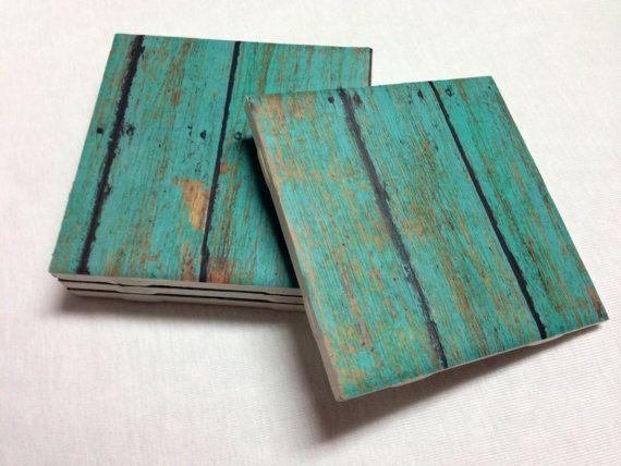 Turquoise Coasters - Teal Wood Design - Home Decor - Drink Coasters - Tile Coasters - Ceramic Coasters - Table Coasters On Sale