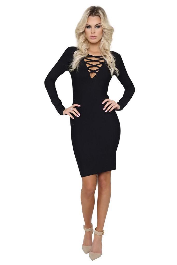 Olivia Black Long Sleeve Criss Cross Bandage Dress