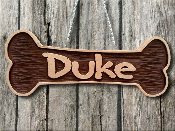 Thecarvingcompany pet name bone sign carved wood