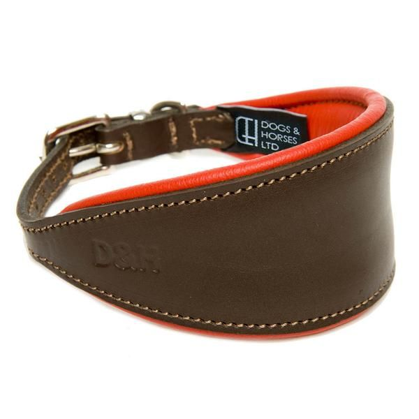 Hand Made Brown Padded  Lined Leather Lurcher Greyhound Dog Collar Soft