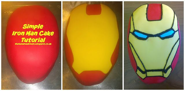 The Handmade Mum: How to create a simple Iron Man head birthday cake...