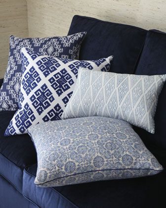 Blue and White Pillows by John Robshaw at Neiman Marcus.#NMFallTrends Bring a little navy in the living room to brighten without blinding.