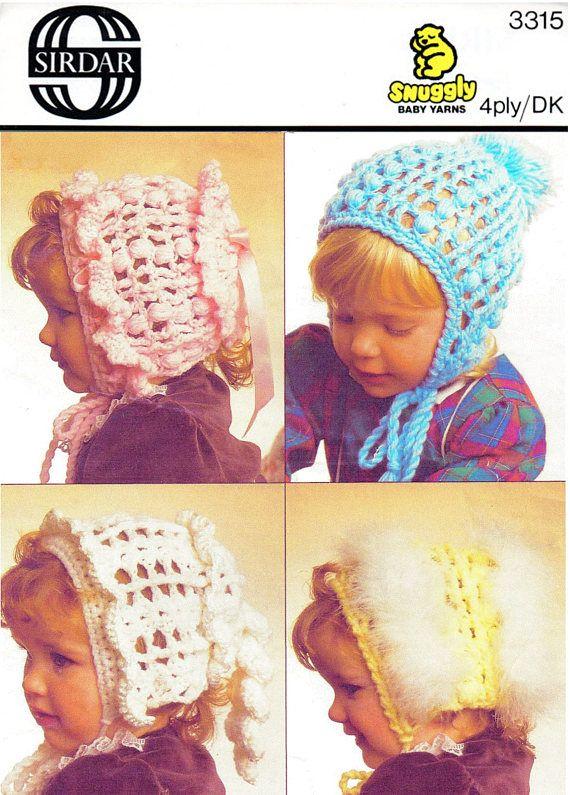 PDF Vintage Baby Crochet Pattern Bonnet & Helmet Crochet