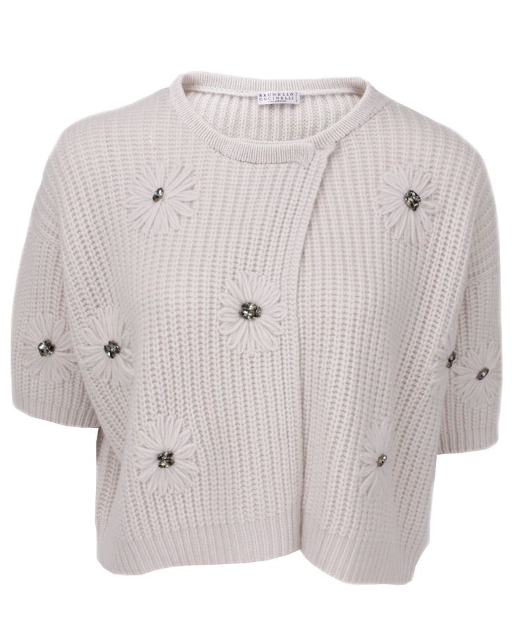Brunello Cucinelli Vanilla Cropped Knit Cardigan with Swarovski 2745$