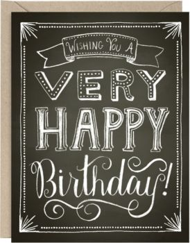 This spectacular hand drawn design is festive and fun. Whimsical artwork and fantastic lettering on a chalkboard style background. Happy birthday card - hand lettering