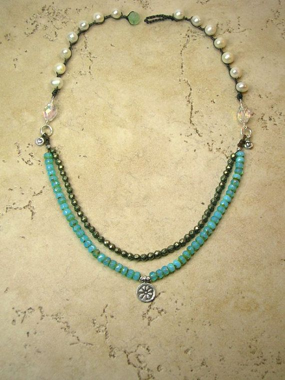 Bohemian necklace - Southwestern boho chic crocheted jewelry, aqua, Thai silver charms, pearls, pyrite $72 Etsy.com