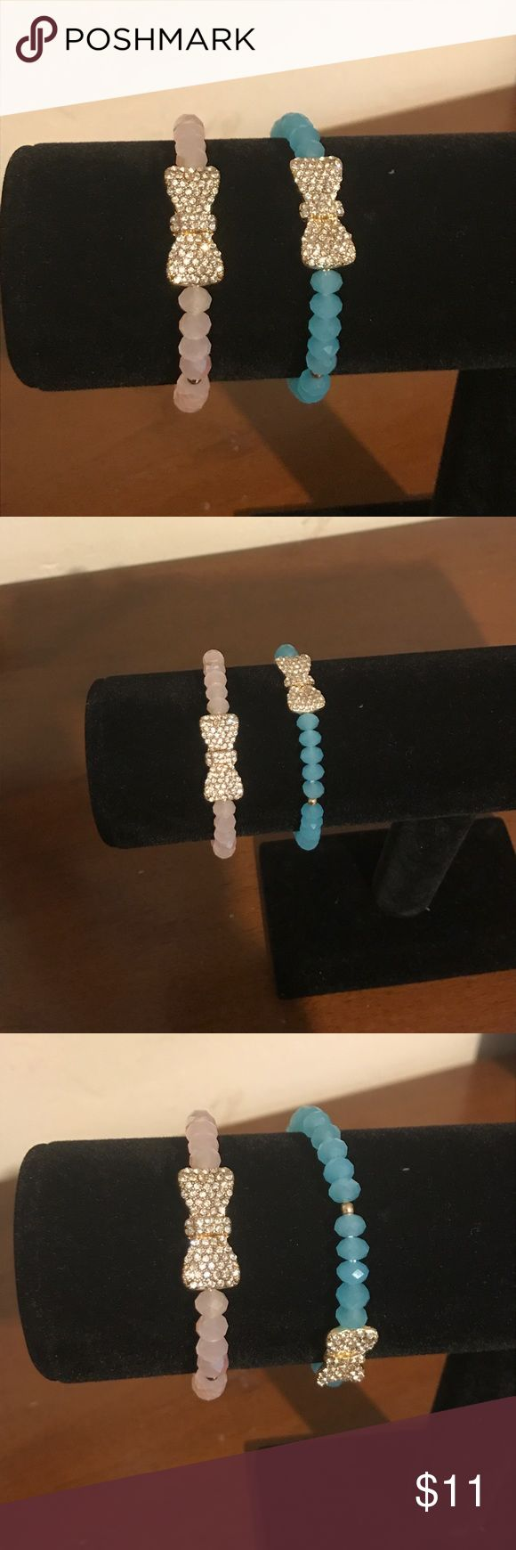 Pink or blue ribbon bracelets Pink and blue bow bracelet if your a small It with fit a little loose it will fit a medium really well and large and they are stretchy $11 each Jewelry Bracelets