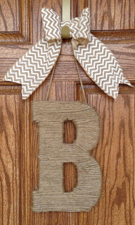 Monogram Jute Letter and Chevron Burlap Bow- Monogram  Door  Wreath- Chevron  Door Wreath- Monogram Initial Jute Wrapped on Etsy