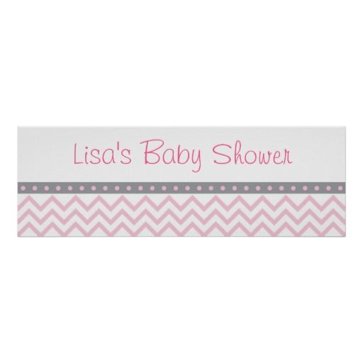Pink Chevron Personalized Banner Poster