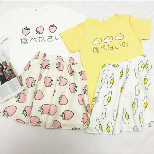 "Cute japanese egg strawberry ice cream t-shirt skirt suit Use code: ""cherry blossom"" get 10% OFF everytime you shop at (www.sanrense.com)."