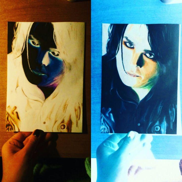 """Gerard Way ,,negative"""" colored pencil art"""