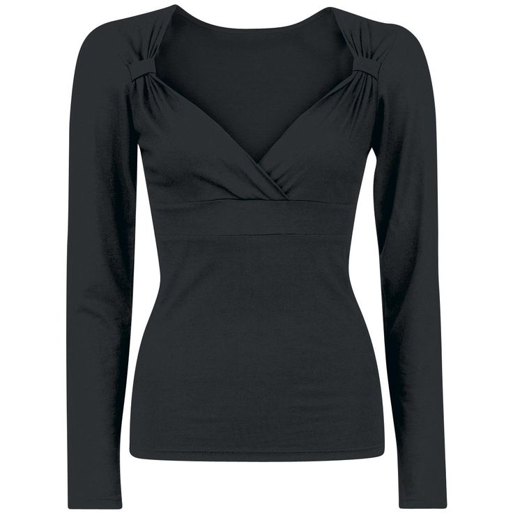 """Original """"Fashion V-Top Long"""" longsleeve   Doesn't matter if you visit a concert or the birthday party of your aunt, with the Fashion V-Top Long you are properly dressed. The black girls longsleeve is a bit ruffled on the shoulders, to create the great V-neckline."""