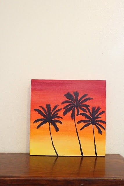 Sunset and palm trees painting