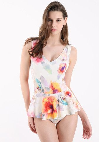 FYVFYV Floral Peplum Swimsuit - Beige @fyvfyv