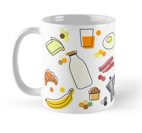 #Mug available on my @redbubble  https://www.redbubble.com/people/bembureda/shop  #giftoriginal #redbubble #breakfast #banana #pretzel #yogurt #jam #tea #cheese #orange #juice #muffin #teapot #bacon #egg #toast #milk #bread #brioche #cornflakes #crunch #christmas #present #buy #bembureda #ginger #nstagold #instagood #instafoodie