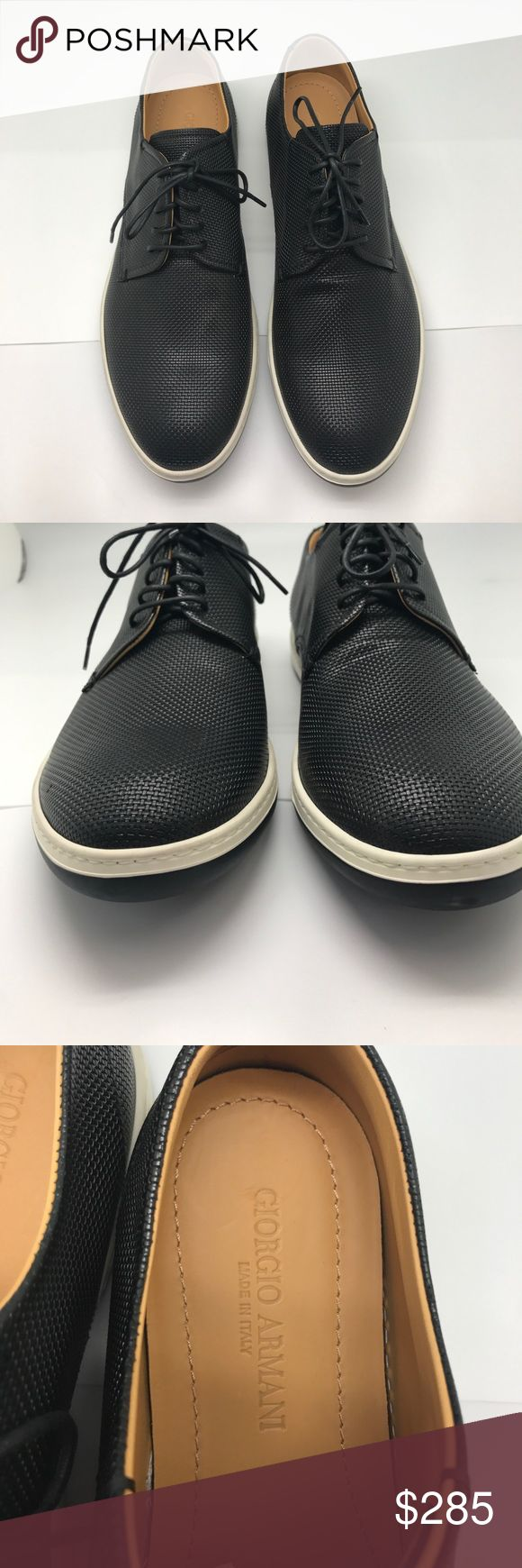 Men's Giorgio Armani Woven Leather Black Sneakers Giorgio Armani woven leather sneaker. Round toe. Lace-up front. Rubber sole. Made in Italy.  Includes: -Original Box -Dust bag  -Certificate of Authenticity Giorgio Armani Shoes Sneakers