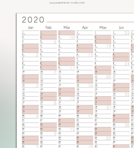 2020 Yearly Wall Calendar Printable Wall Planner 2020 Blush