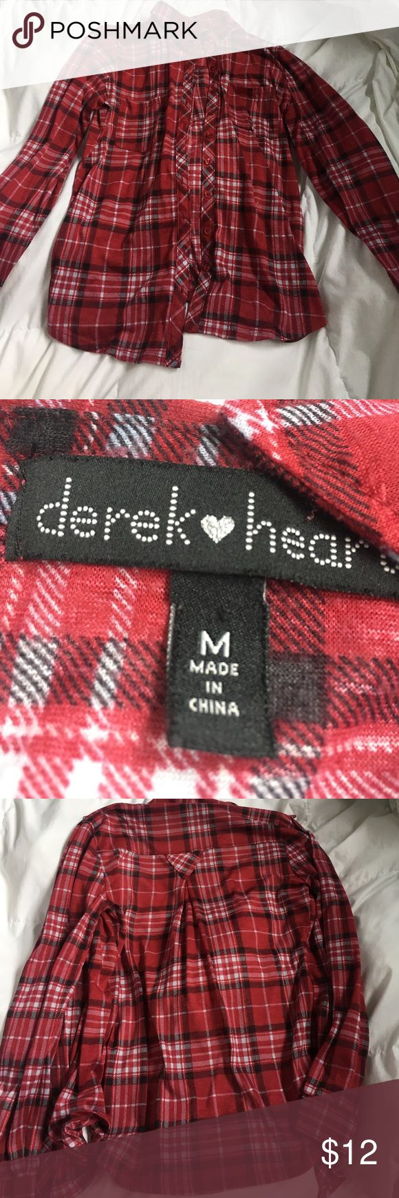 Plaid Design Shirt Thin comfy plaid design shirt! Not flannel material, also not Brandy just tagging for exposure. One pocket on each side. Brandy Melville Tops Button Down Shirts