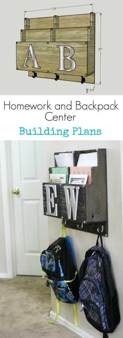 Sick of backpacks on the floor? Learn how to build a DIY Homework and Backpack center.