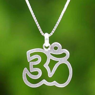 Meditative Om Sterling Silver Om Pendant Necklace…Edit description