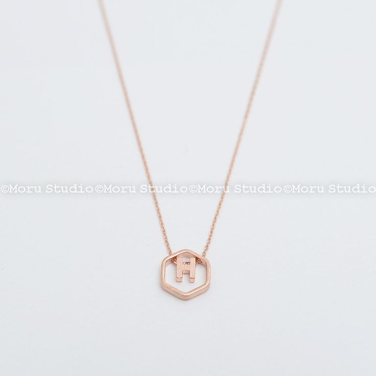 Floating Honeycomb with Initial Letter Necklace/ Hexagon Necklace, Dainty Line Hexagon Necklace, Bridesmaid Necklace Initial Necklace NCR094 by MoruStudio on Etsy