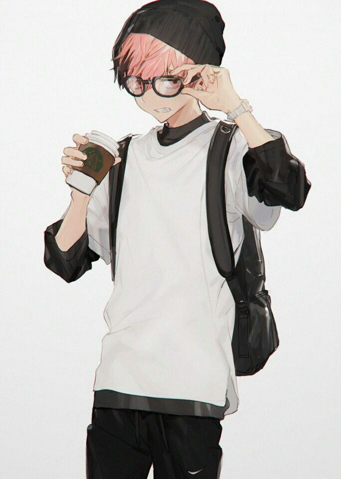 Anime Guy Red Hair Glasses Hipster Coffee Beanie