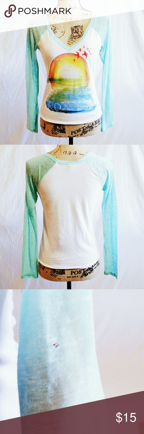 Sheer Roxy Long Sleeve Baseball Top - Size M *Reasonable offers accepted!* Tropical themed Roxy longs sleeve baseball top with blue sleeves. Size Medium. One small hole in left sleeve, but otherwise excellent used condition. Roxy Tops Tees - Long Sleeve