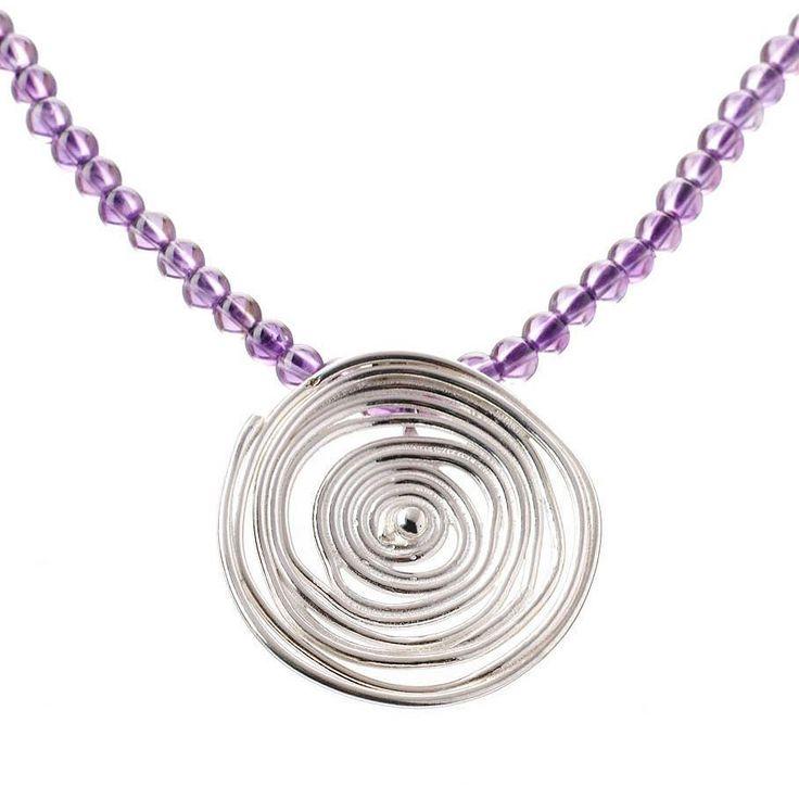 Amethyst and silver swirl pendant #handmadejewellery