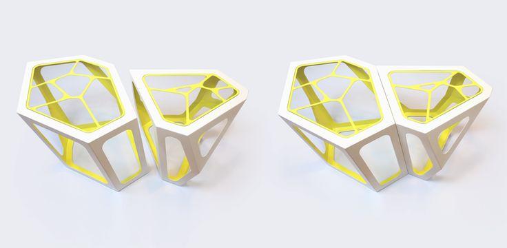Simplexio Primo - coffee table white & yellow