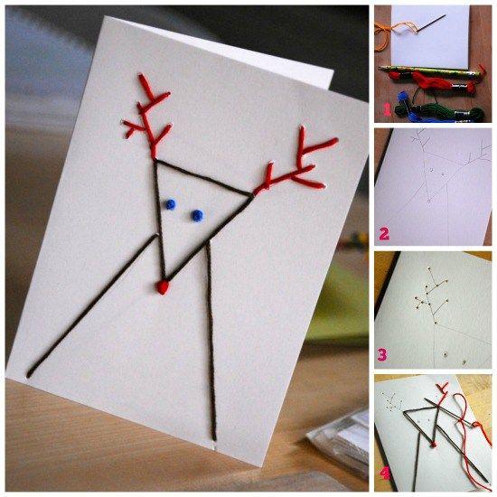 tarjetas de navidad originales hechas a mano con puntadas ms