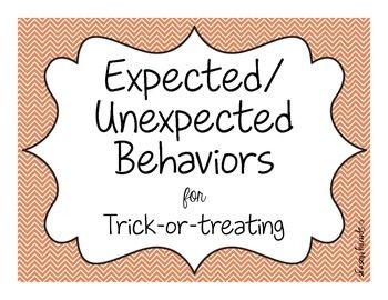 This FREEBIE is perfect for prepping your students for Halloween! It includes two worksheets: one for writing and one for cut & glue. Additionally, it creates 1 page of symbol options and 1 page of sentences of both expected and unexpected behaviors for trick or treating.  This means you have the option to write OR cut and glue into the correct section.