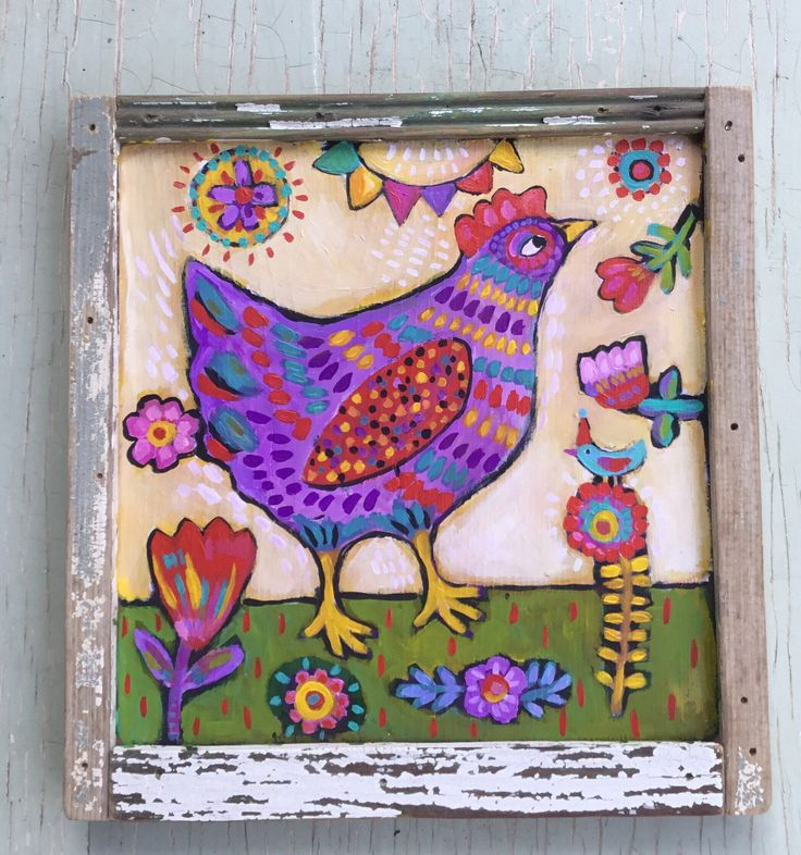 Excited to share the latest addition to my #etsy shop: Folk Art Painting in A Handmade Frame