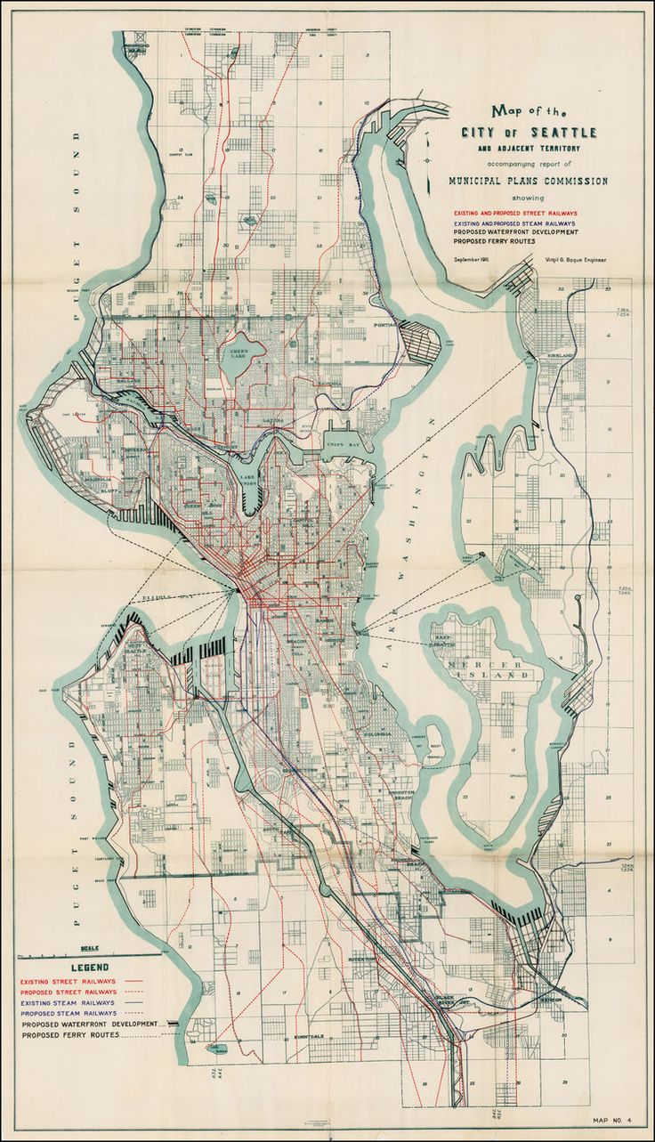 Map of the City of Seattle and Adjacent Territory accompany report of Municipal Plans Commission showing Existing and Proposed Railways Existing and Proposed Steam Railways Proposed Waterfront Development Proposed Ferry Routes September 1911. - Barry Lawrence Ruderman Antique Maps Inc.