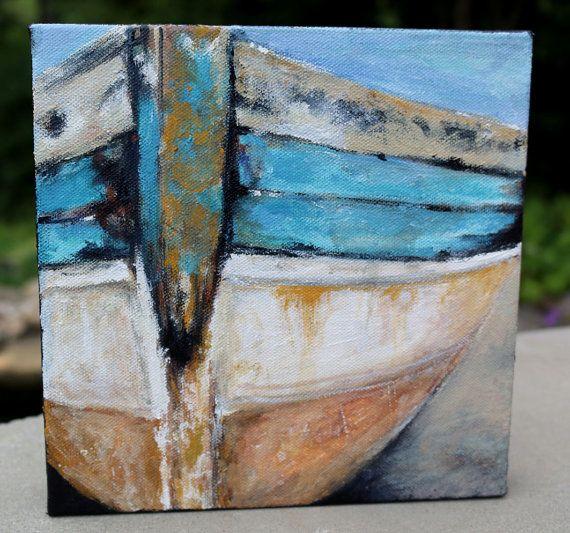 Painting Run Ashore Sail Boat Acrylic by CraftySerendipity on Etsy, $90.00