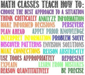 "Poster describing the many skills math classes teach. The easy way to answer ""Why do we need to learn this?"" just point to the poster!   Please rate my work if you download, Thank you!"